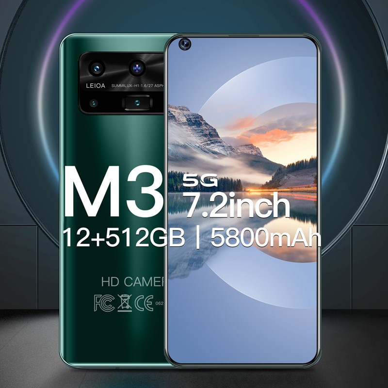 New Global Version M3 Smartphone 12G 512GB 13+32MP Camera Android Cell Phone 5800mAh Battery Celuares 7.2