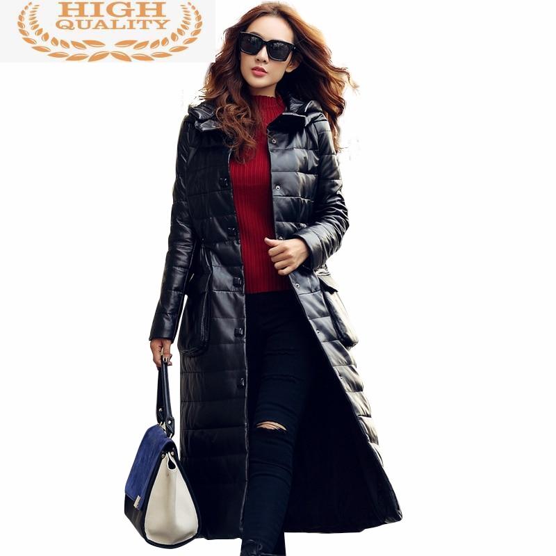 Real 2021 Sheepskin Coat for Women Genuine Leather Duck Down Jacket X-Long Winter Women's Down Jacke