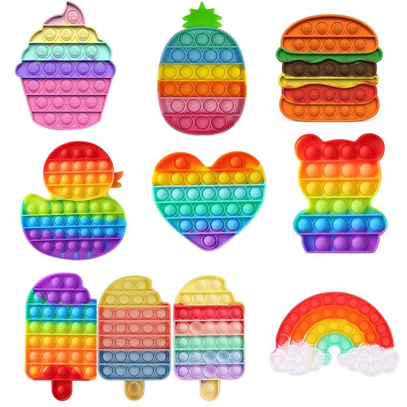 Rainbow Bubble Fidget Sensory Toy for Autisim Special Needs Anti-stress Game Stress Relief Squishy Fidget Toys for Kids