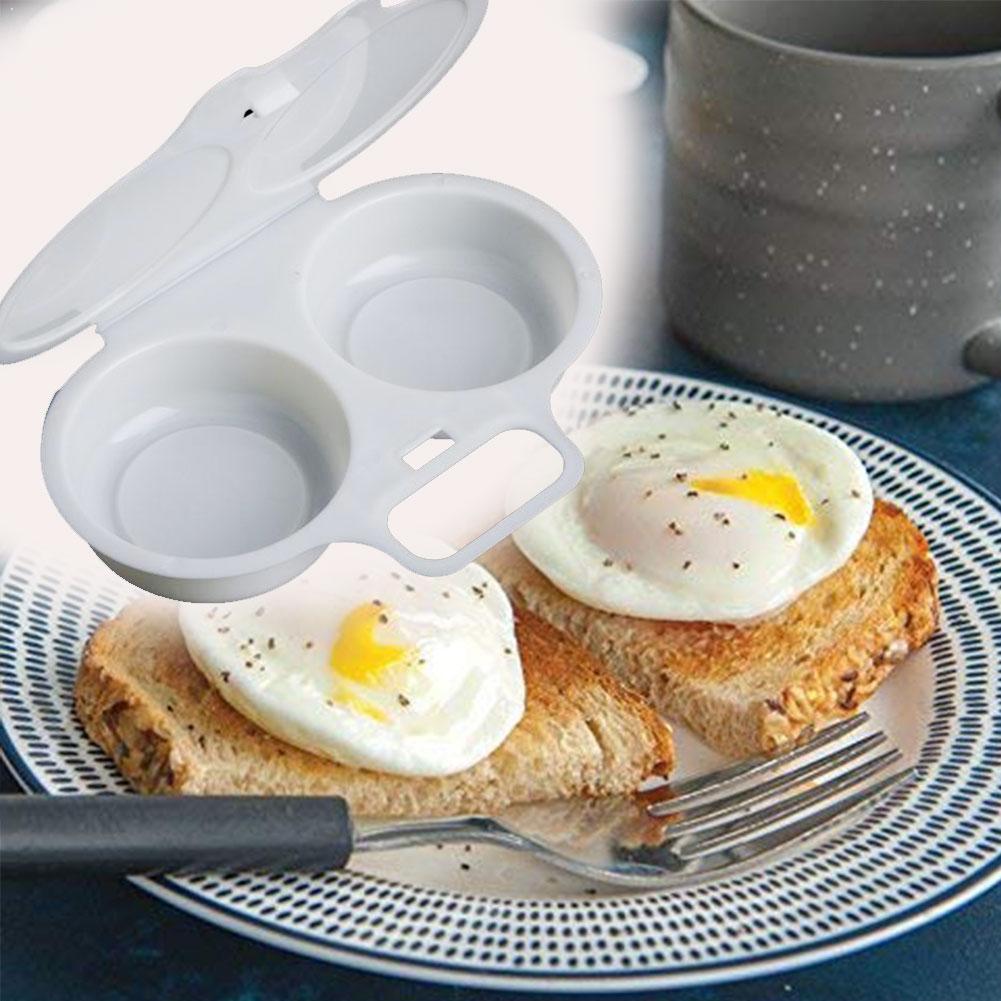 Útil sartén para tortilla para microondas con dos huevos, utensilio para cocinar a vapor Microweavable, para huevos, cocina y tortilla, caja de cocina Z3H9 1 unidad
