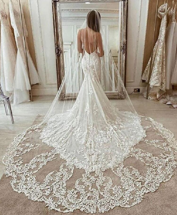 3M طويل الحجاب الدانتيل Appliqued الديكور كاتدرائية طول Appliqued الديكور الأبيض العاج طرحة زفاف العروس الحجاب الزفاف الشعر مع مشط مجانا