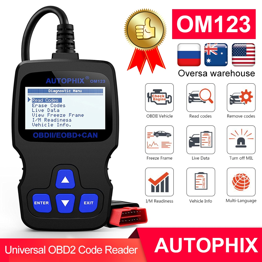 Autophix OM123 OBD2 сканер OBD 2 Автомобильный диагностический инструмент Автомобильный сканер ODB считыватель кодов инструменты автоматического сканирования PK ELM327 CR3001 AD10
