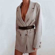 2019 Autumn New Fashion Women Ladies Suit Coat England Style Blazer Long Sleeve Plaid Outwears Offic