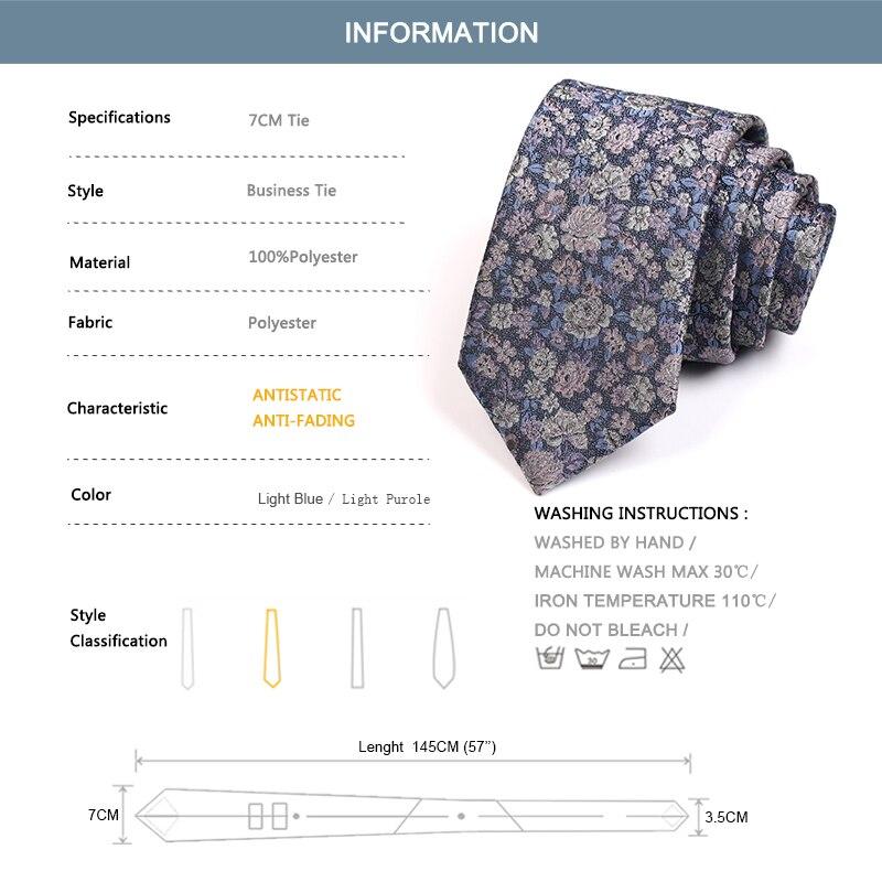 Fashion Luxury Floral Jacquard 7CM Ties Gentleman Business Tie For Men High Quality Business Suit Work Necktie Men's Neck Tie