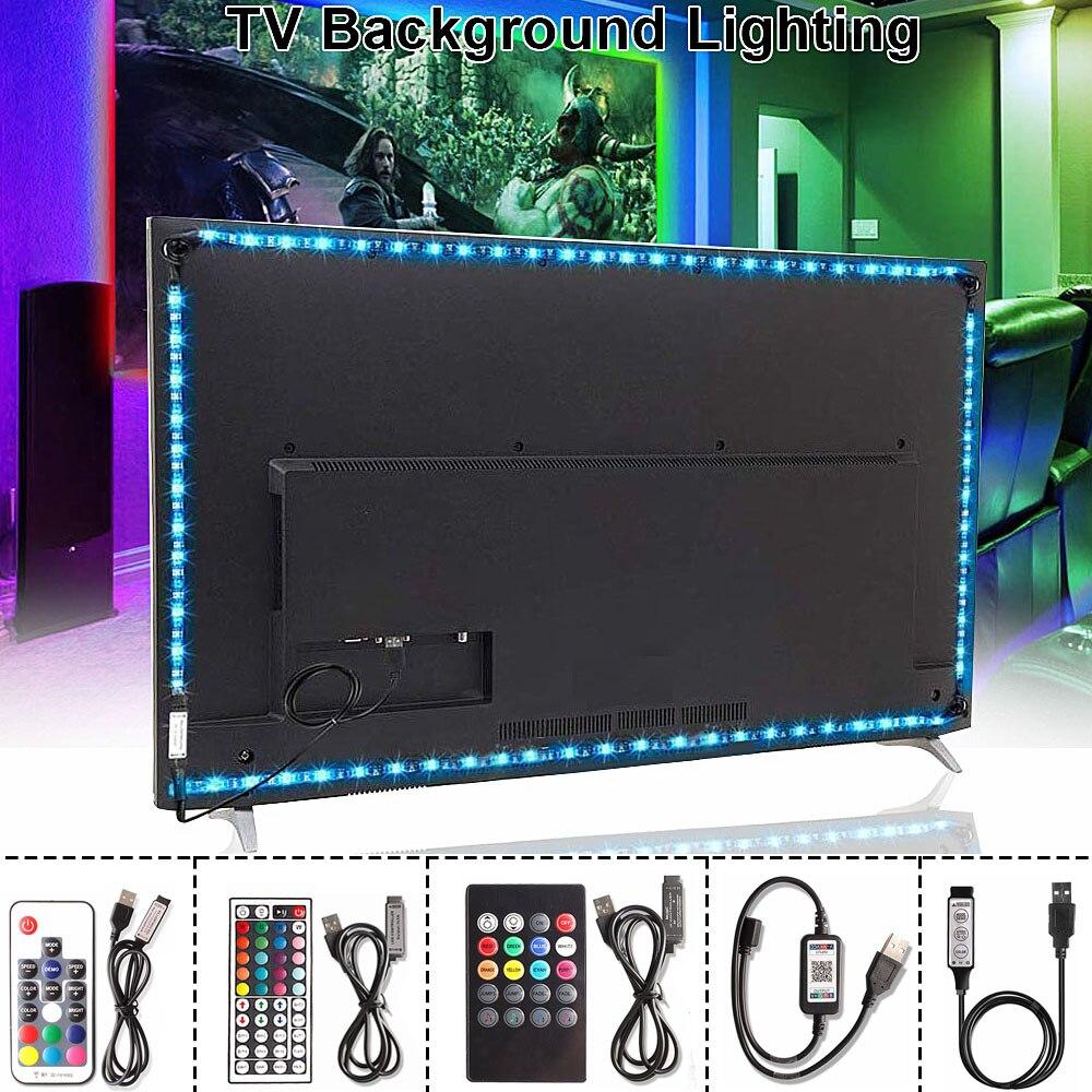 RGB 5050 USB LED franja de 5V cinta Flexible Tira de luz Led USB Tira LED neón RGB cinta 17 teclas de control remoto iluminación de fondo de TV 1M 3M