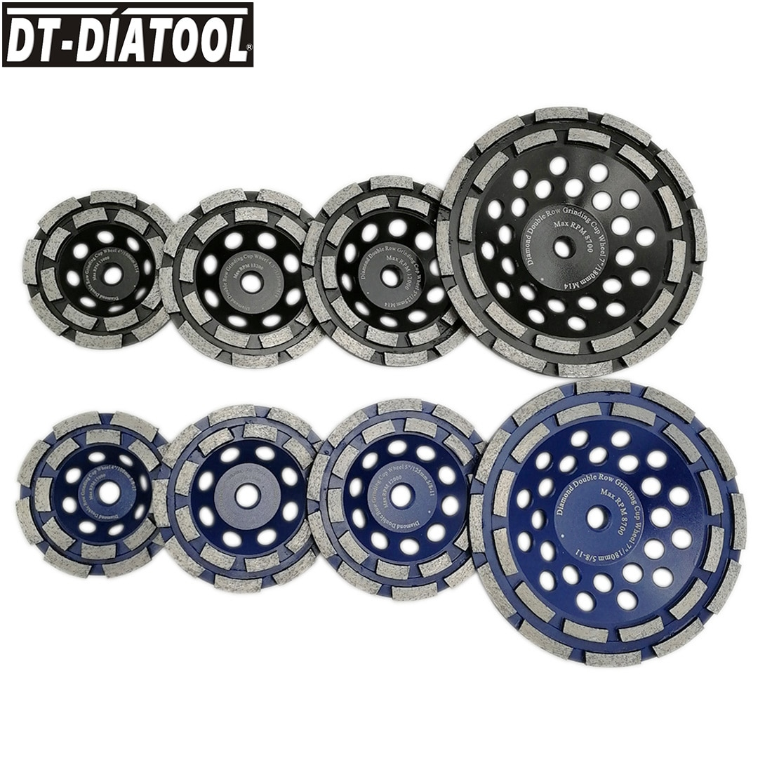 DT-DIATOOL 1pc Diamond Double Row Cup Grinding Wheel for Concrete hard Stone Granite Marble M14 or 5/8-11 Dia 100/115/125/180mm