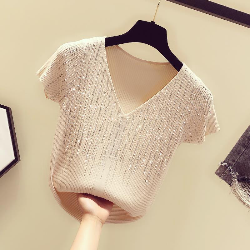 2021Fashion The New Diamond V-neck short-sleeved sweater bottoming shirt women's loose thin  pullover  summer Style