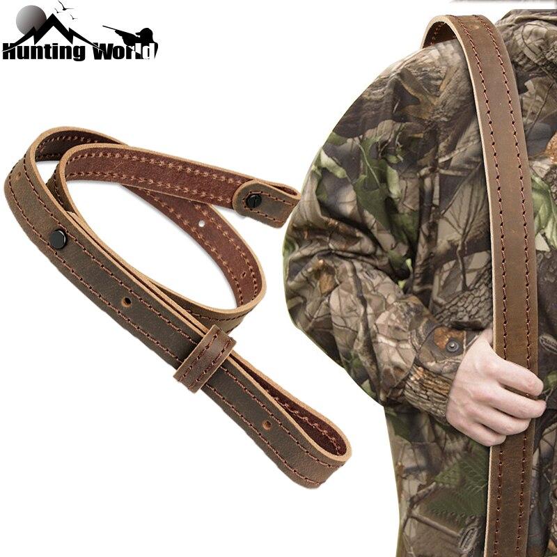 Tactical Adjustable Genuine Leather Rifle Sling Belt Shot gun Shoulder Strap w/ Buckle for Hunting Shooting Rifle Gun Accessory