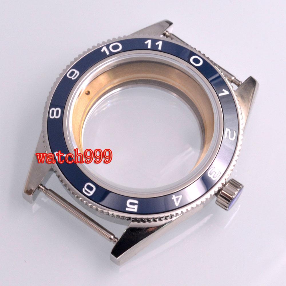 Piezas de reloj 41mm caja de reloj cerámica bisel zafiro cristal ajuste Miyota 8205/8215 ETA 2836 2824 DG 2813 reloj de pulsera