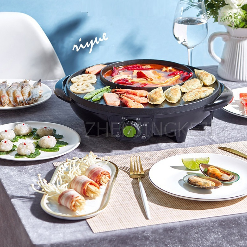 Home 220V Stainless Steel Nonstick Coat Pan Electric Hot Pot 1600W Auto Thermostat Control Frying Barbecue Grilled Meat Boiler