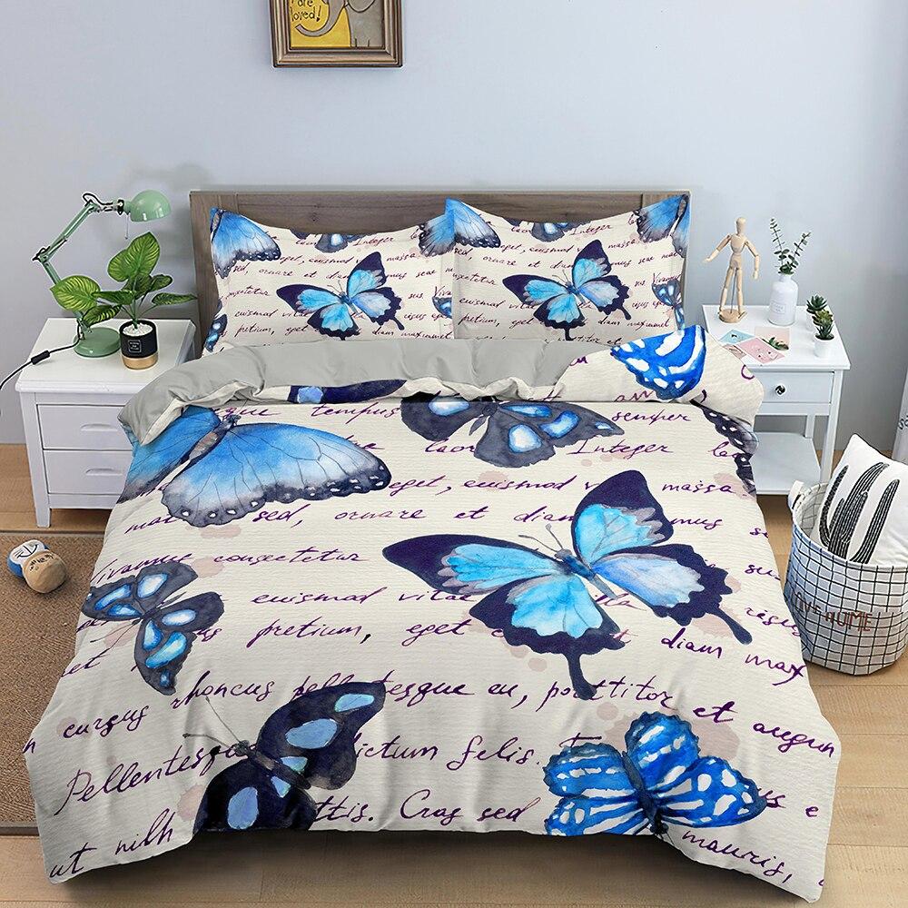 Постельное белье акварельного цвета с рисунком бабочки, пододеяльник, постельное белье, двойная/двуспальная кровать, для ...