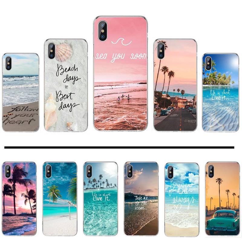 Verano Playa Mar Océano Palm árbol Bling lindo caja del teléfono para iphone 4 4s 5 5s 5c se 6 6s 7 8 plus x xs x xr 11 pro max
