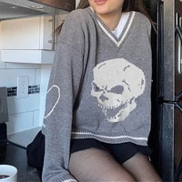 goth ins oversized sweater loose skeleton bone printing woman high quality high street damage hole vintage knitted sweater 2021
