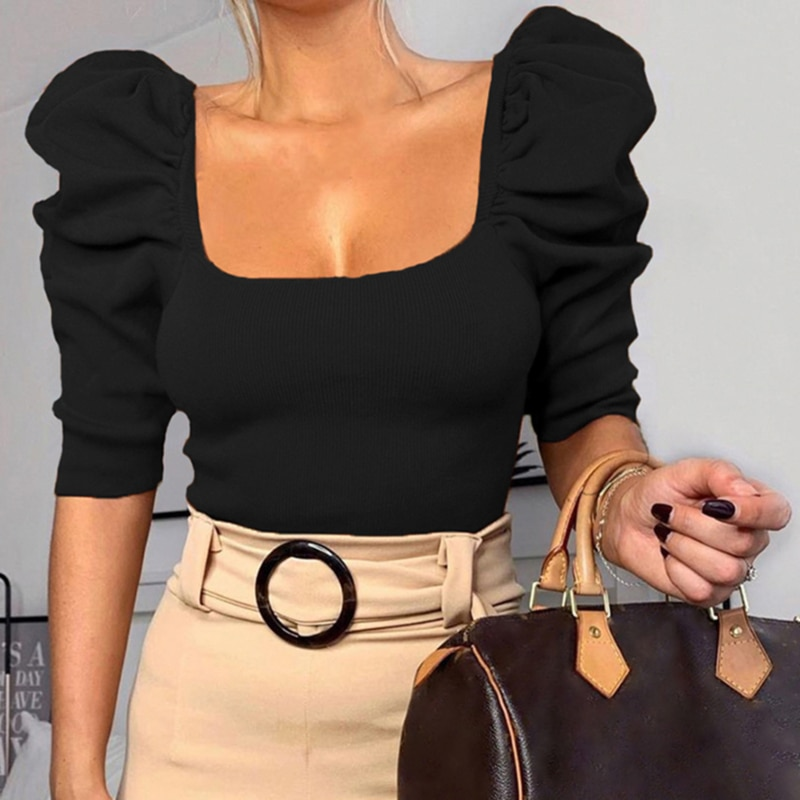 Vintage Puff Sleeve Women Blouse Square Neck Korean Style Tops Elegant Sexy White Black Slim Crop Blouse Women