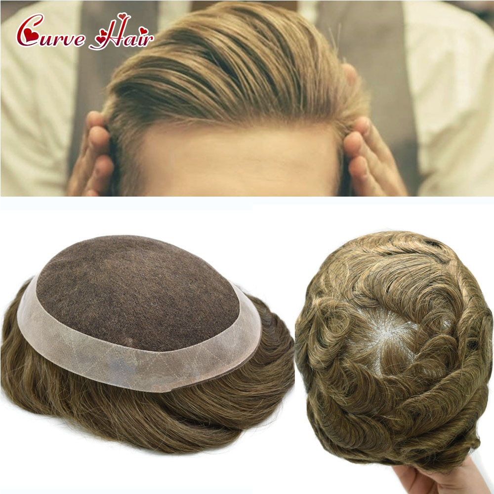US Undetectable French Lace Men Toupee Hairpieces Human Hair System All Hand Tied PU Coat All Around Durable Wig Men