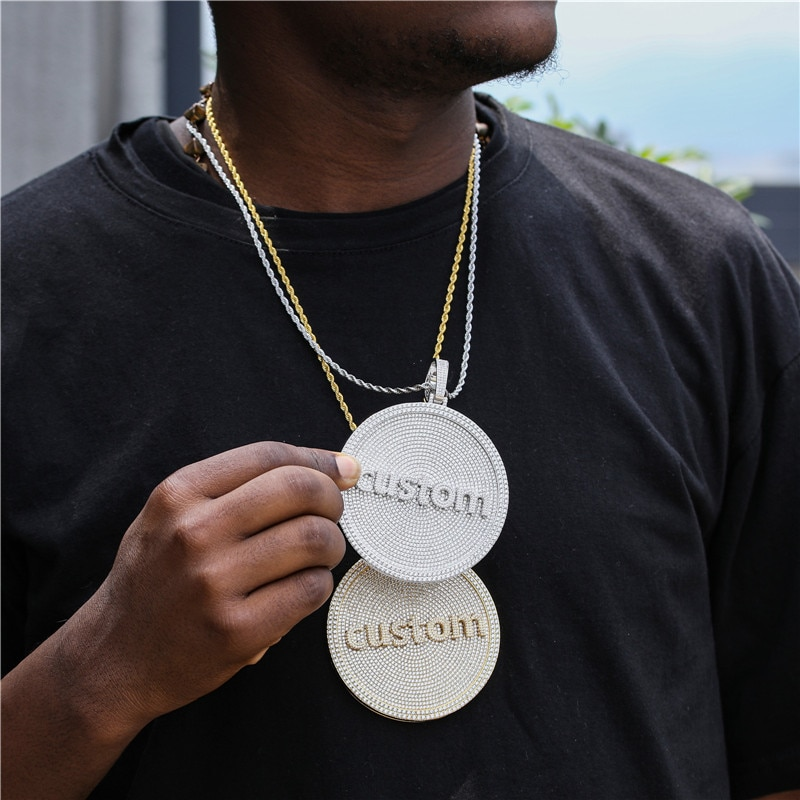 Hip Hop Custom Any Font  Name Letters Necklaces Pendant Big Size Bling Cubic Zirconia For Men Women Jewelry With Solid Back