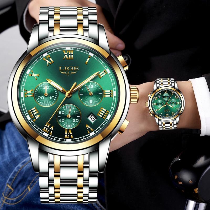 New Watch Men 2019 LIGE Luxury Brand Fashion Men Chronograph Sports Watches Waterproof All Steel Quartz Clock Relogio Masculino