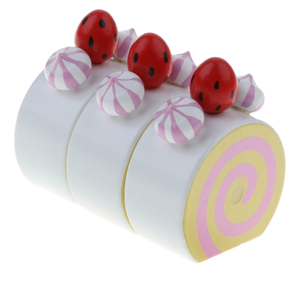 Wooden Strawberry Cake Preschool Pretend Play Toy Christmas Gift for  Girls