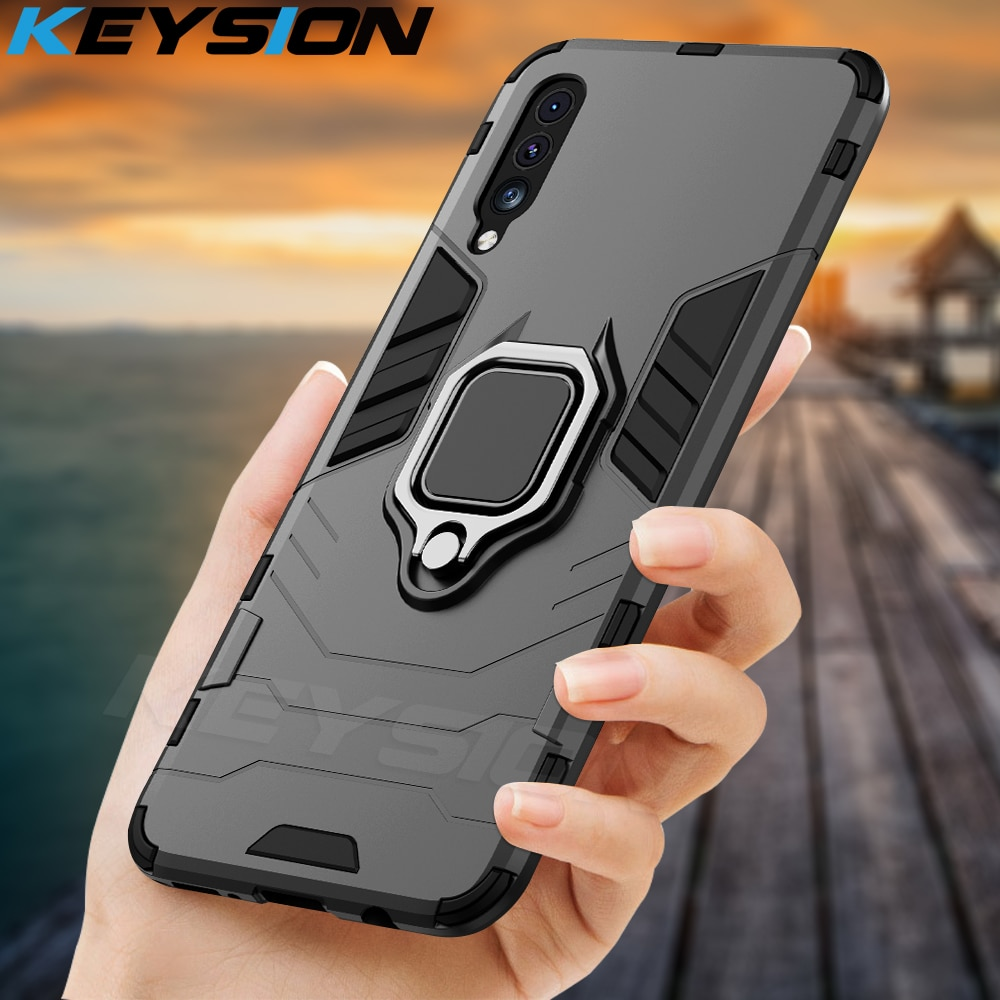 KEYSION Shockproof Armor Case for Huawei Honor 30i 30S Ring Stand Silicone + PC Phone Back Cover for Huawei Honor 30 Pro+ Plus