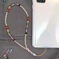 crystal beads chain for mobile phone strap holder lanyard phone 2021 love letter chains crystal beaded accessories