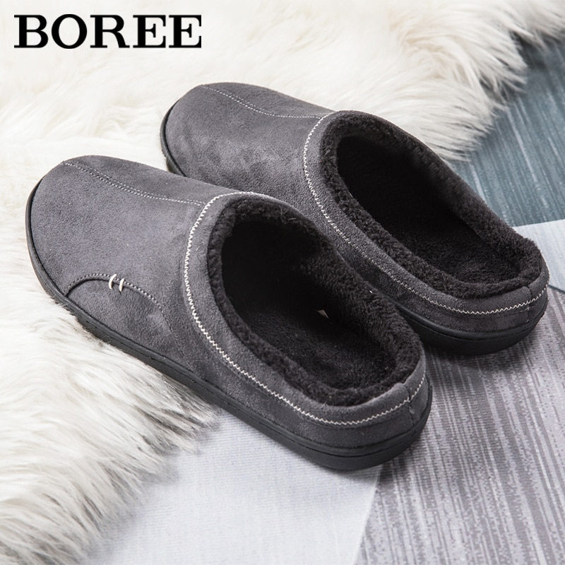 BOREE Classic Home Slippers for Men Winter Suede Short Plush Man Slippers Non Slip Bedroom Slipper Couple Soft Indoor Shoes Male home warm slippers for men women winter furry short plush man slippers non slip bedroom slippers couple soft indoor shoes male