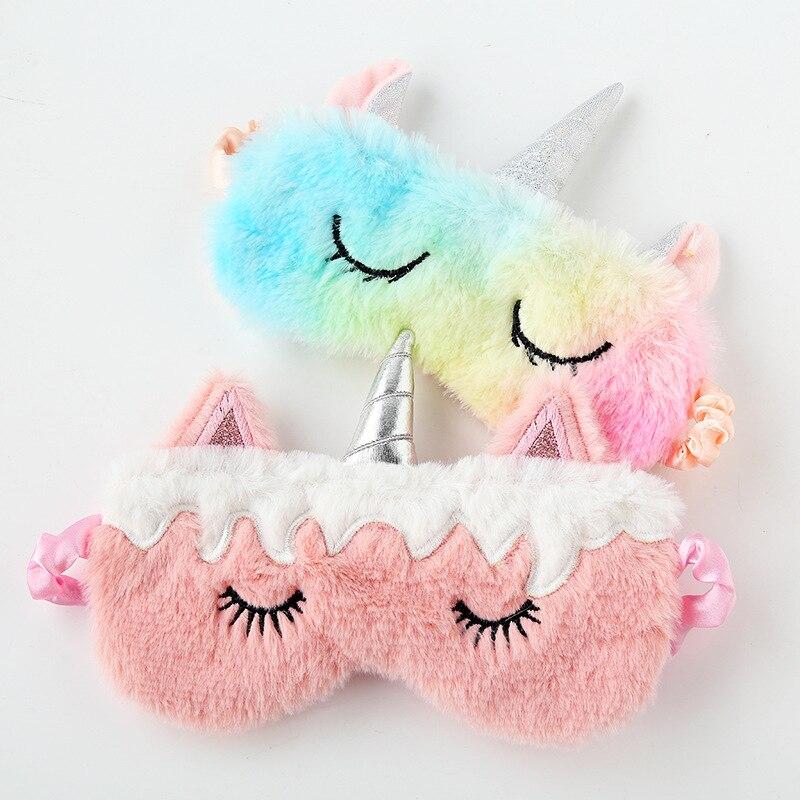 3D Cartoon Unicorn Eye Mask Silk Variety Sleeping Mask Plush Eye Shade Cover Eyeshade Relax Mask For Travel Home Party Gifts