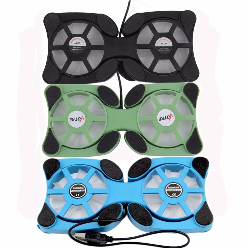 Miniventilador plegable para portátil, almohadilla de refrigeración de doble ventilador, 3 colores,...