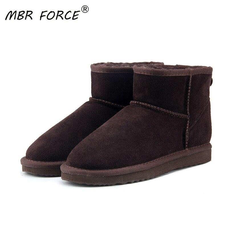 Mbr força de alta qualidade austrália clássico botas de neve feminina 100% botas de tornozelo de couro genuíno botas de inverno quente sapatos de mulher