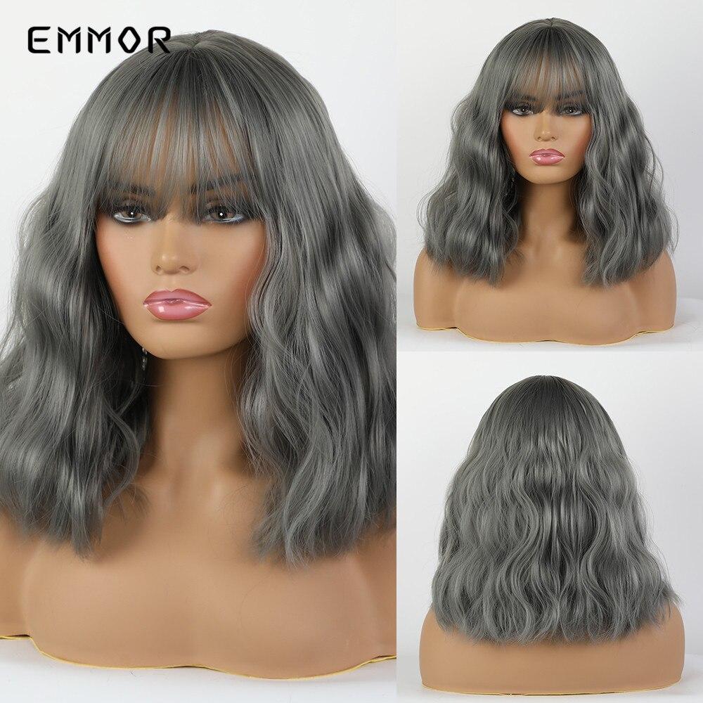 Pelucas de pelo sintético EMMOR de ondas rizadas cortas de color gris y azul con flequillo de aire para mujeres, peluca Natural de Cosplay para fiestas diarias resistentes al calor