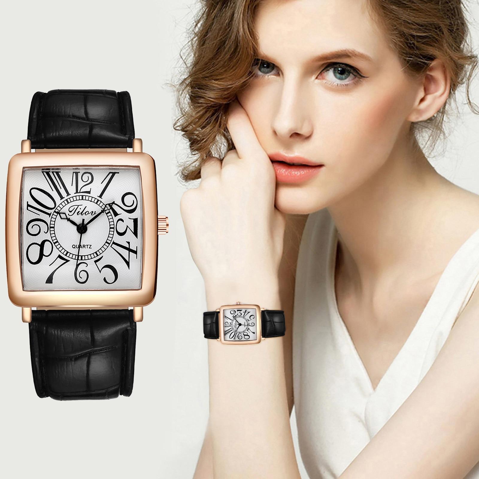 Reloj de cuarzo con correa de cuero para mujer, pulsera de lujo...