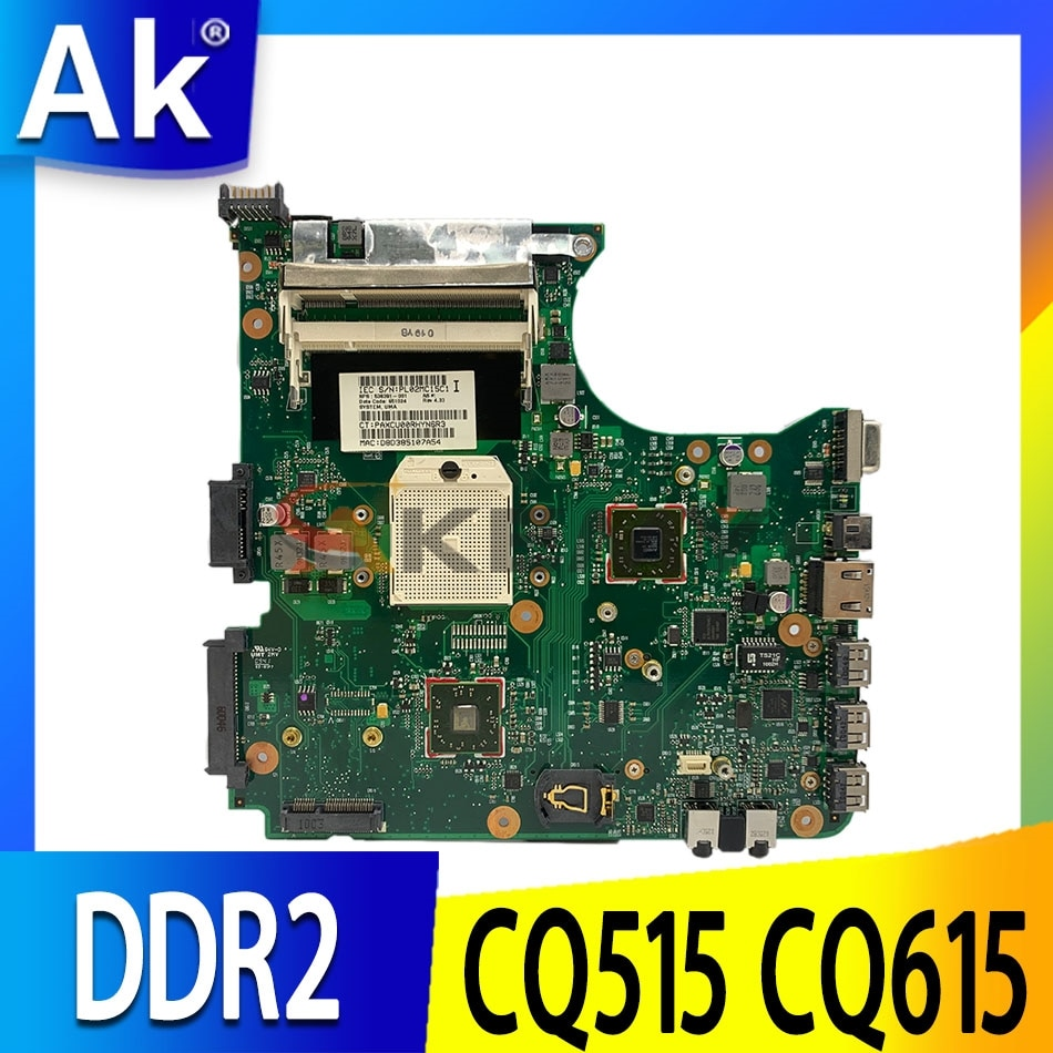 Akemy 538391-001 لـ HP Compaq 515 615 CQ515 CQ615 اللوحة الأم للكمبيوتر المحمول مقبس S1 DDR2 وحدة المعالجة المركزية المجانية