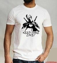 러브 데드 풀 티셔츠 풍자 재미 있은 마블 영웅 티 마스크 블랙 화이트 탑 남성용