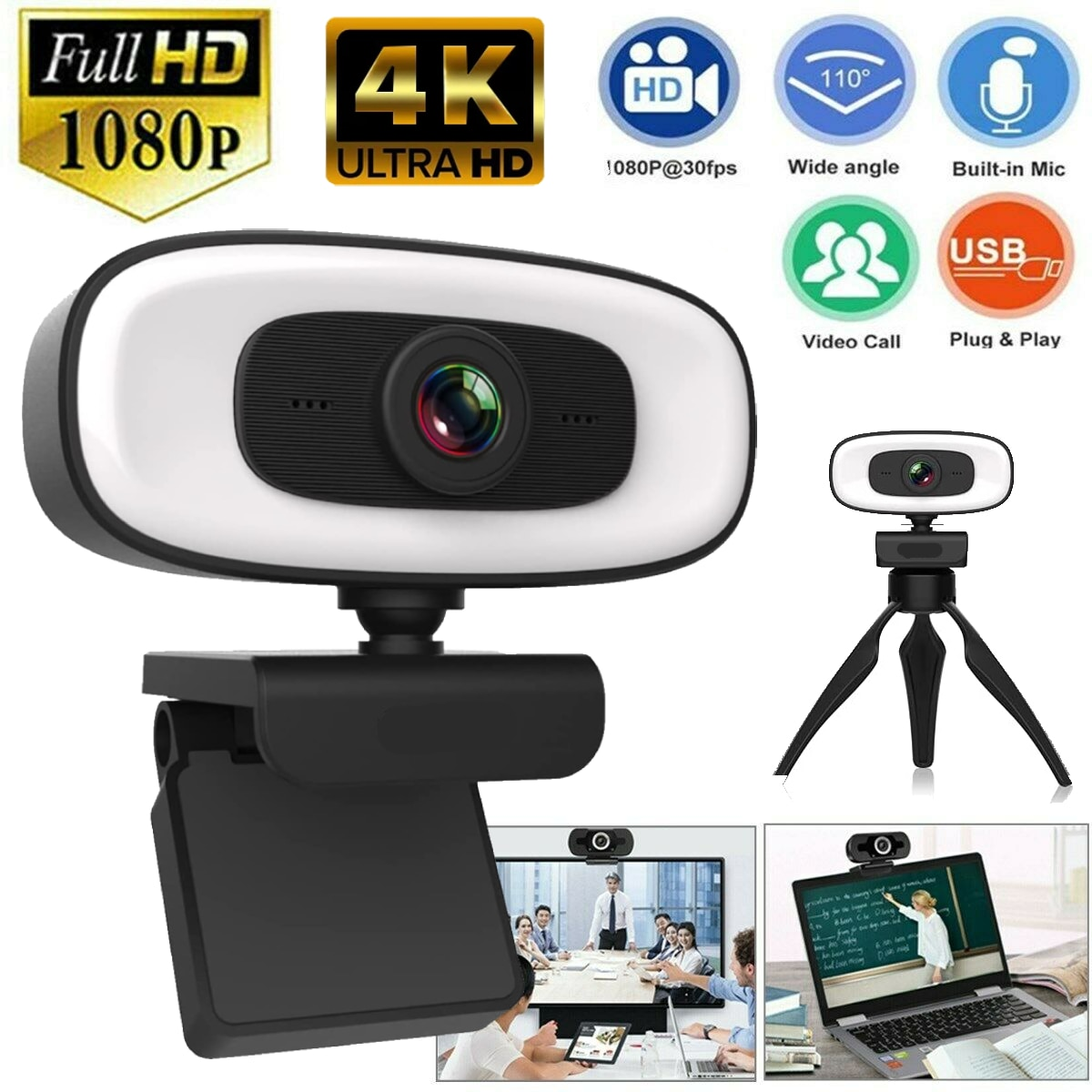 4K Webcam PC Laptops Portable Webcam Live Streaming Flexible Web Cam 1080p Web Camera For Computer With Microphone Full HD