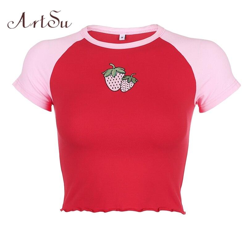 Artsu Women Summer Short Sleeve Crop T-shirt Streetwear Tee Shirt Summer Cute Strawberry Print Casual Cotton Tshirts