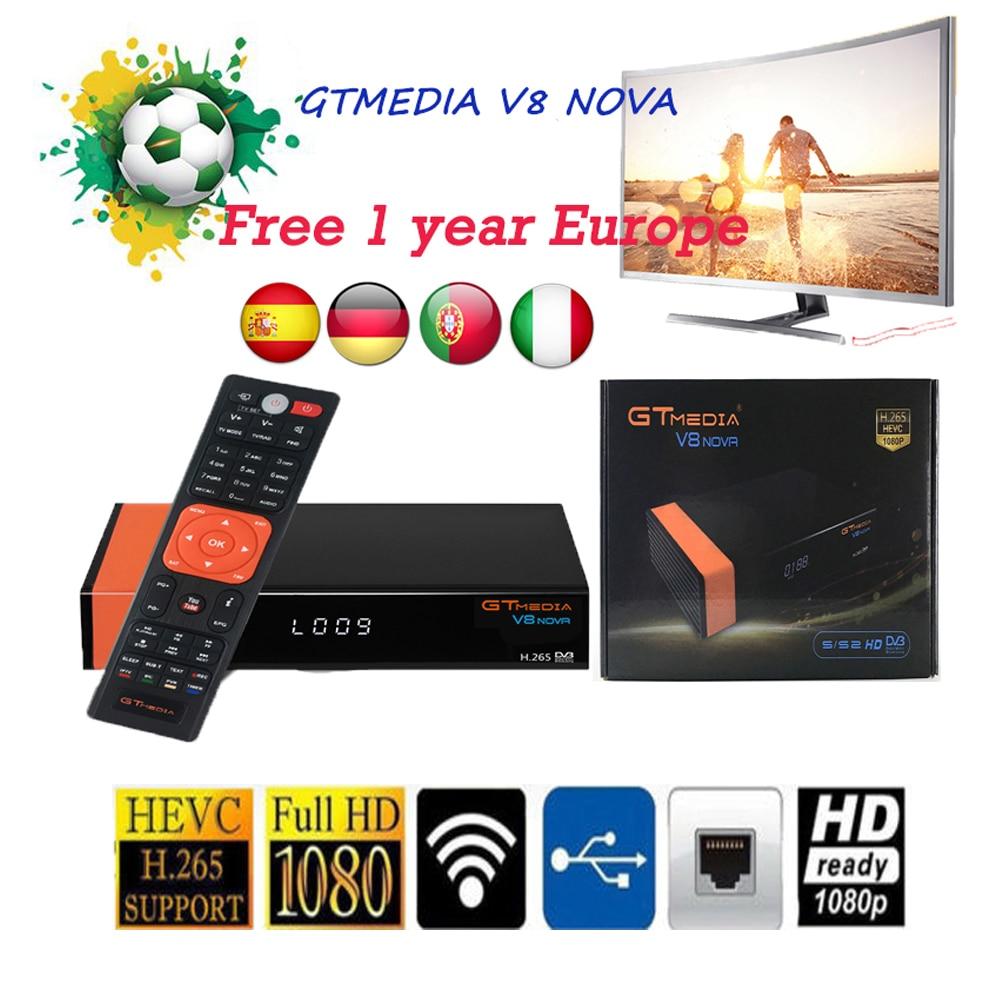 Original GTMEDIA V8 nova receptor de TV por satélite 1080P DVB-S2 apoyo newcam powervu nave de Brasil freesat V8 X