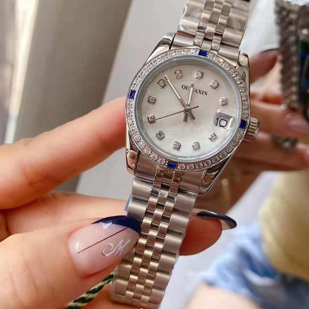 31mm ladies watch automatic mechanical sapphire 316L stainless steel blue dial waterproof ladies clock 12633 enlarge