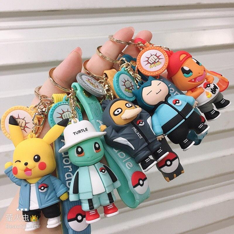 Одежда с изображением покемона Пикачу брелок с рисованным Аниме Фигурки Симпатичные Кирби Иви покебол для маленьких мальчиков цепочка для ключей с девушкой брелок Подарочный на день рождение игрушки