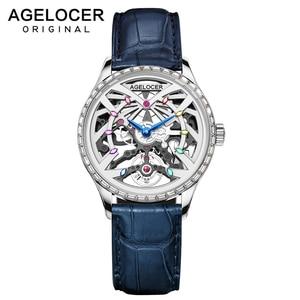 AGELOCER White Skeleton Women Automatic Watch Luxury Brand Female Crystals Blue Strap Wristwatches 50M Waterproof Elegant Watch