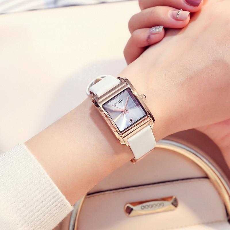 Square Watch Women Dress Elegant Simple Temperament Quartz Genuine Leather Calendar Ladies Watch Luxury Gifts Relojes Para Mujer enlarge