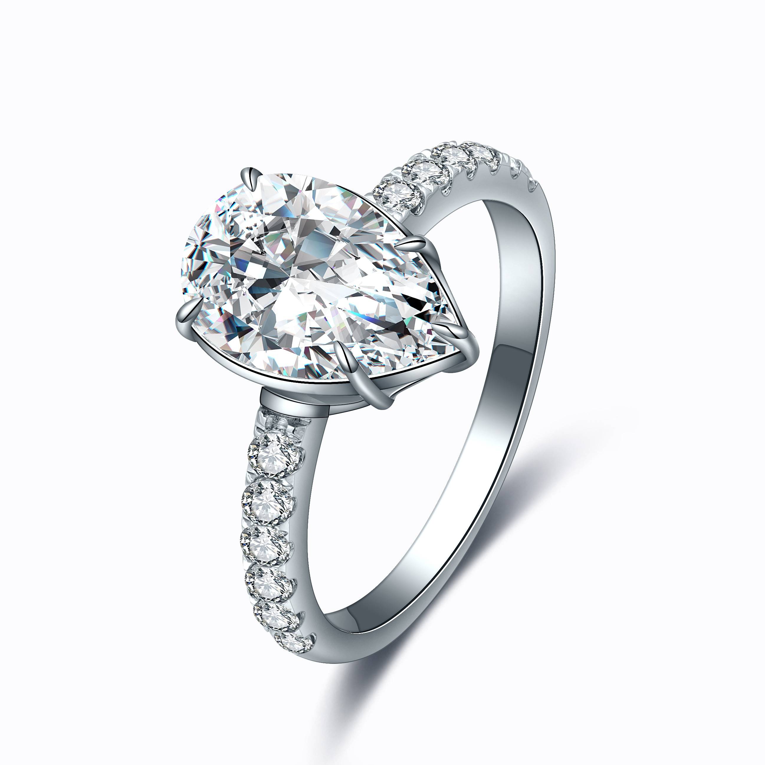 Zhanhao 2.0ct 925 Sterling Silver Simulated Diamond Pear Shape Ring For Men Ladies Sparkling Fashion Bridal Rings