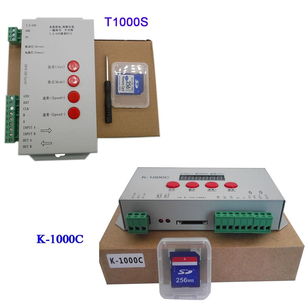 K-1000C (T-1000S Bijgewerkt) Programma Led Controller K1000C WS2812B, WS2811, APA102, t1000S WS2813 2048 Pixels Controller DC5-24V