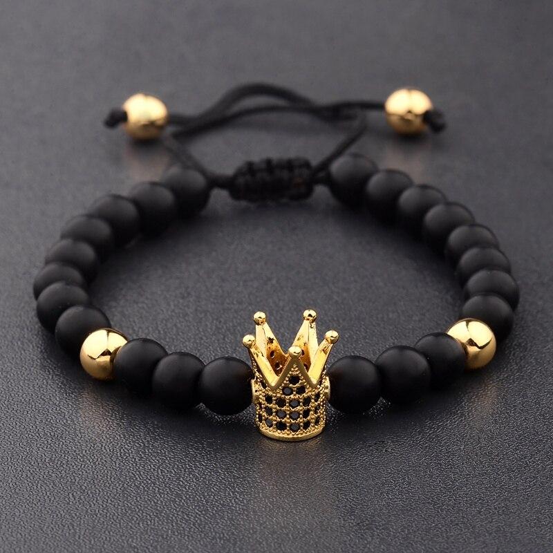Oiquei corda de luxo trançado pulseira masculina artesanal 2019 preto zircão coroa natural pedra fosco ajustável pulseira pulsera hombre