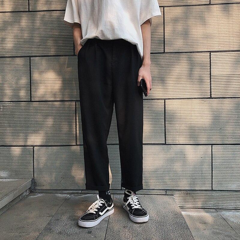 Летние тонкие прямые Костюмные брюки, мужские корейские деловые повседневные брюки, мужские костюмные брюки, мужские брюки с широкими штан...