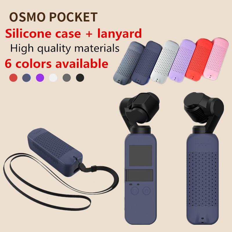 Protector de bolsillo DJI OSMO de 6 colores Set funda de silicona suave con correa de cuello cordón para cardán de mano de bolsillo Osmo