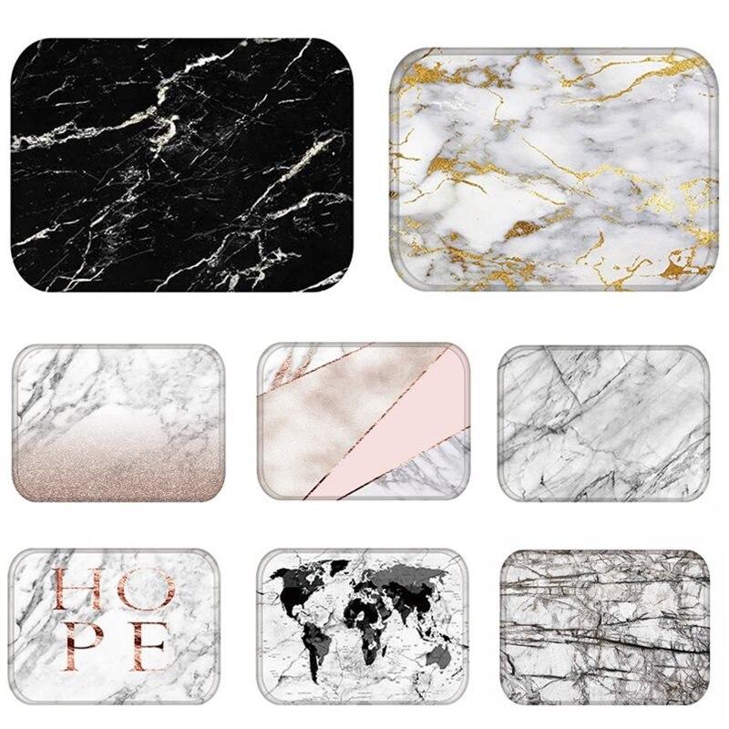 Doormat Kitchen Carpet Anti-Slip Nordic Style Marble Map Velvet Rubber Bottom Door Floor Room Dustproof Mats 48224