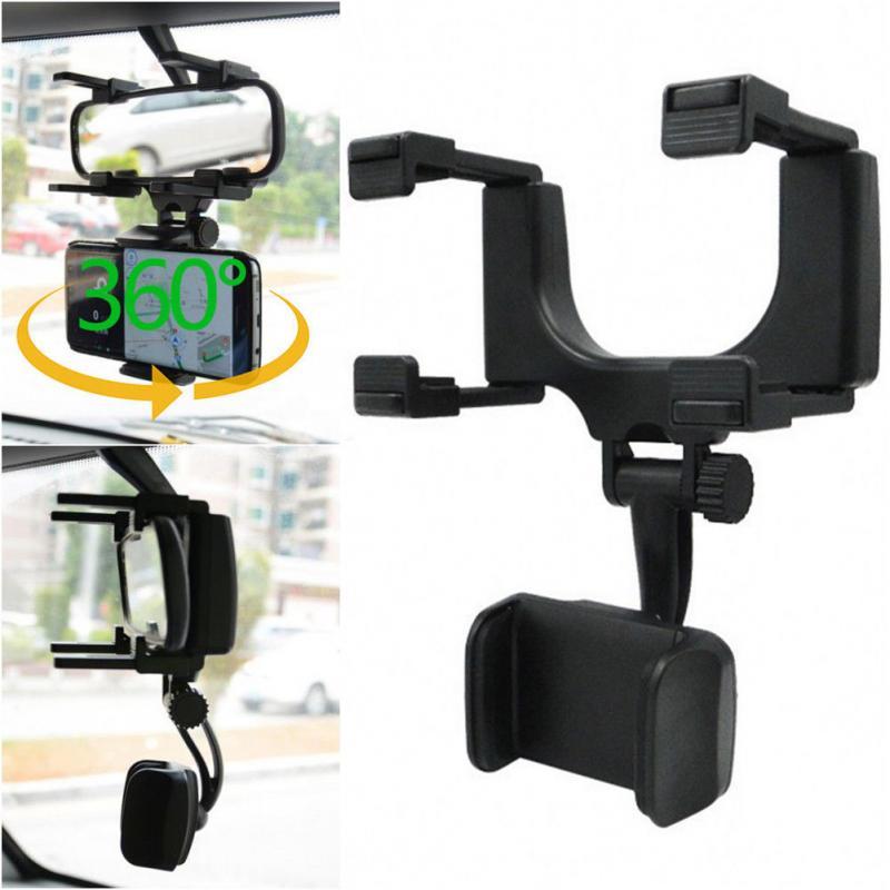 Soporte de espejo retrovisor para coche soporte de soporte para teléfono móvil GPS 360°espejo retrovisor universal para coche soporte para Smartphone GPS