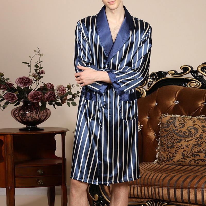 2021 Новинка Мужчины Черный Lounge Пижамы Искусственный Шелк Пижамы Для Мужчин Комфорт Шелк Халаты Благородный Халат Халат Мужчины% 27 лет Сон Халаты