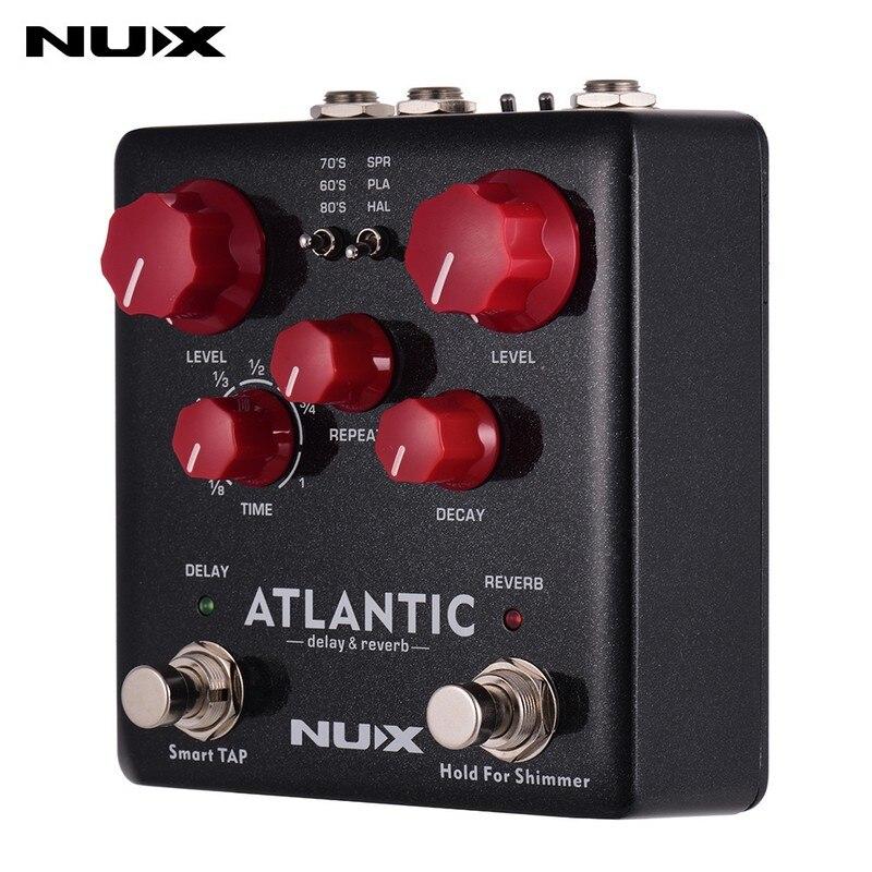 Pedal de reverberación con retardo Atlántico NUX con 3 retardo y 3 efectos de reverberación efecto reluciente de ensueño y toque el ritmo