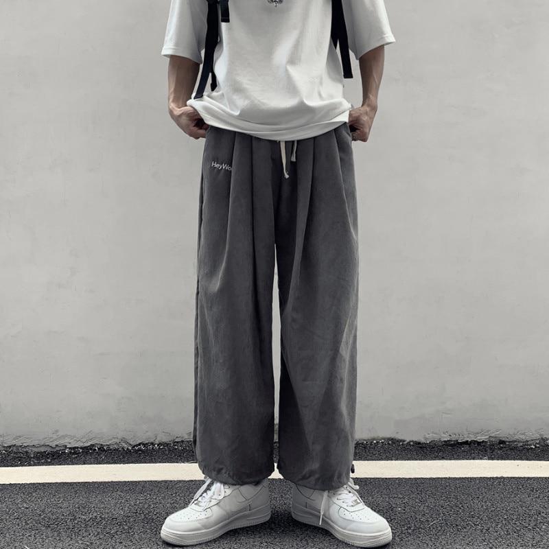 Pants Men's Fashion Korean Trend Versatile Loose Wide Leg 9-point Pants Straight Legged Casual Pants