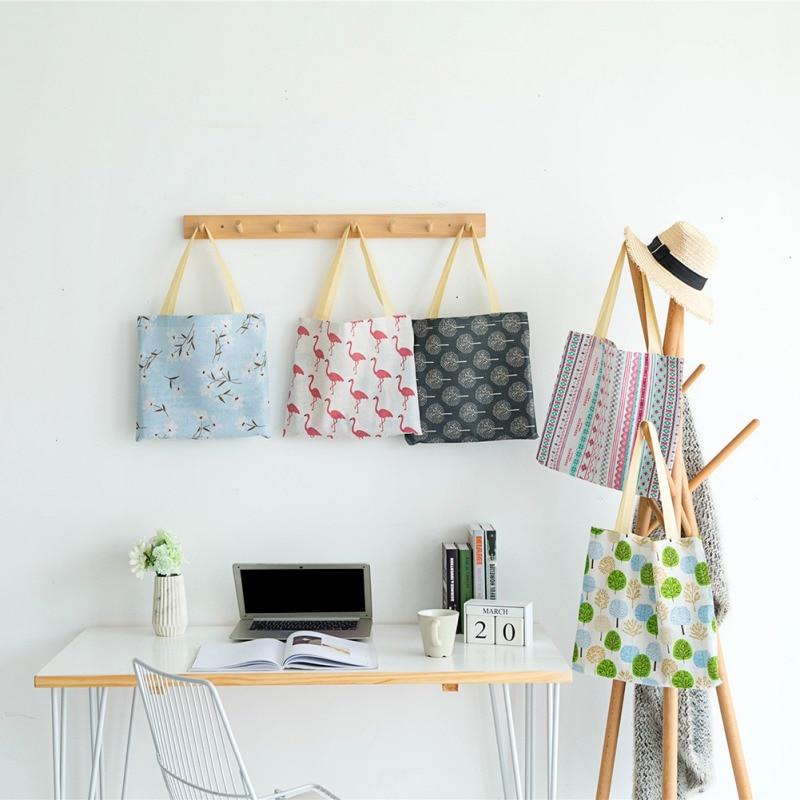 Senhoras meninas casual lona sacos de ombro popular algodão linho ambiental senhoras sacos de compras novo